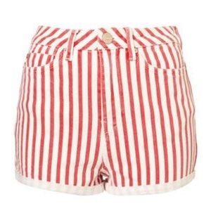 Moto High-Rise Red & White Striped Shorts